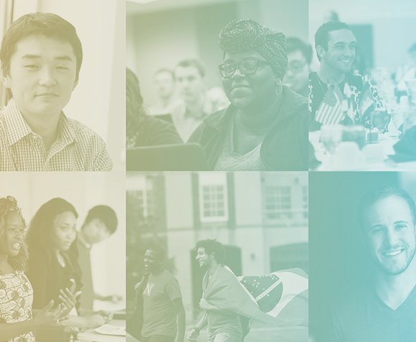 Montage of six photos of diverse students with yellow blue green gradient